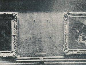 L'emplacement de la Joconde au Louvre en 1911 après le vol